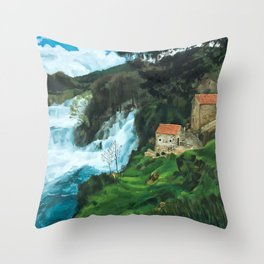 Waterfall in Krka Throw Pillow