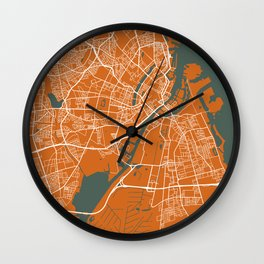 Copenhagen Map | Denmark | Coffee & Green Colors | More Colors, Review the Collections Wall Clock