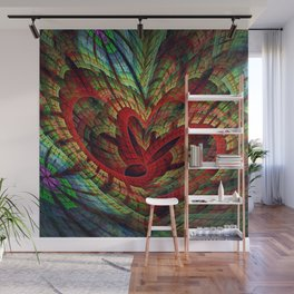 Entangled hearts, symbolic fractal abstract Wall Mural