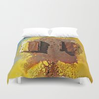 headphones Duvet Covers featuring Girl with Headphones  by Ethna Gillespie