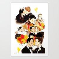 klaine Art Prints featuring klaine throughout the seasons by suitfer