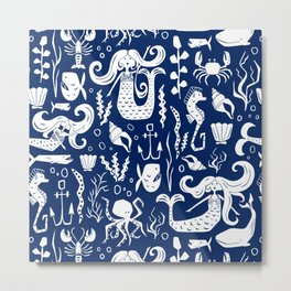 Under The Sea Navy Blue Metal Print