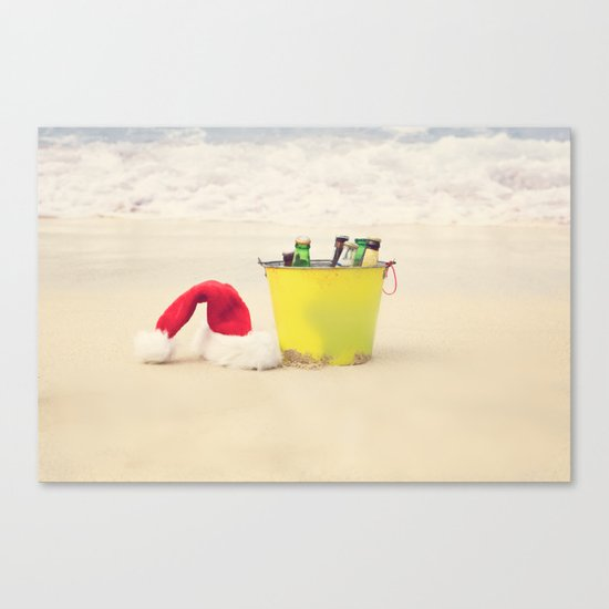 Santa Hat and Beach Beverage Canvas Print
