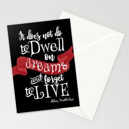 Dwell on Dreams - Black Stationery Cards