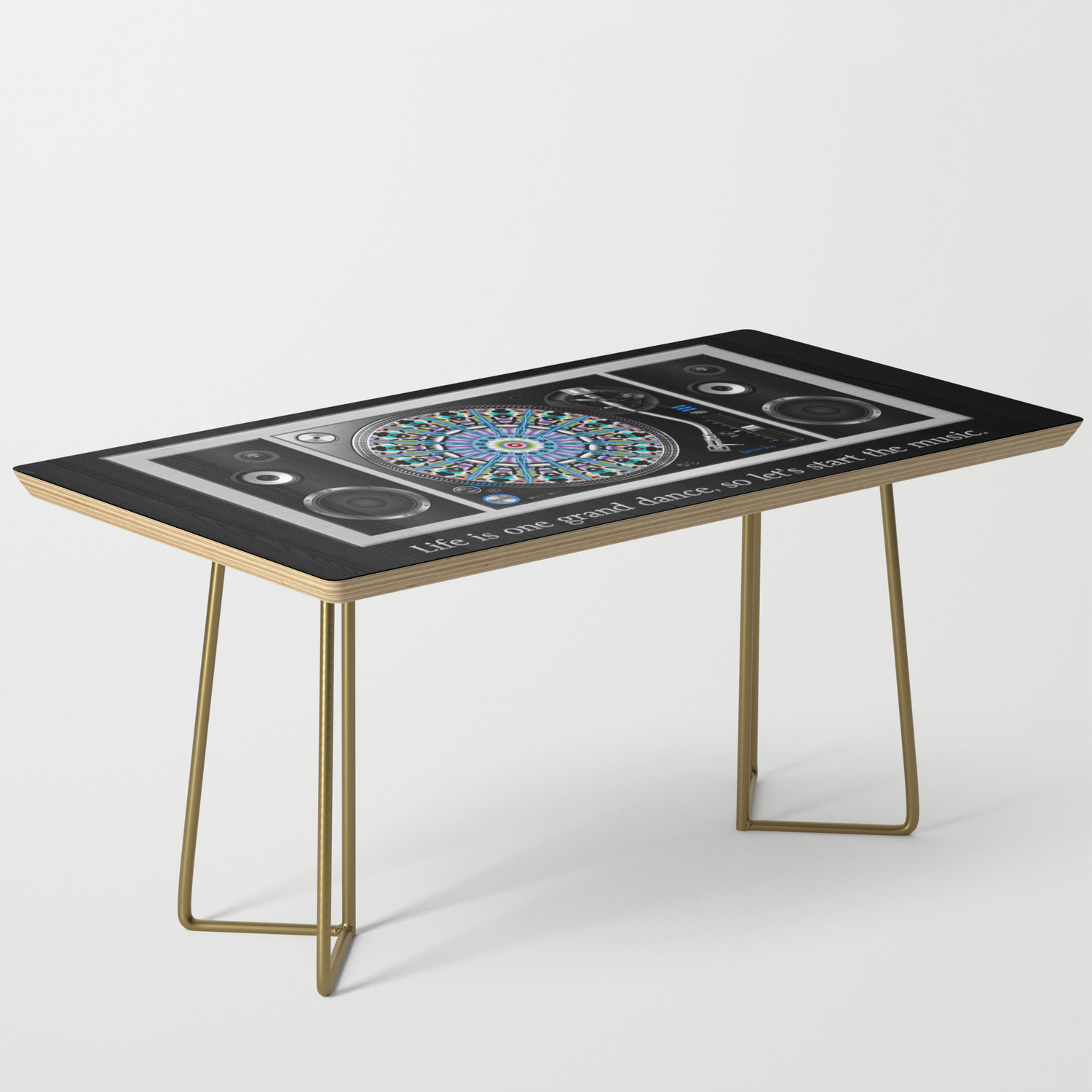 Let S Start The Music Vinyl Records Turntable Coffee Table By Amourjoy Society6