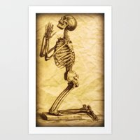 Antique Praying Skeleton Altered Art Collage Art Print