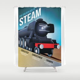 THE GOLDEN AGE OF STEAM VINTAGE POSTER Shower Curtain