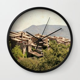Little vintage town between forest and mountain Wall Clock