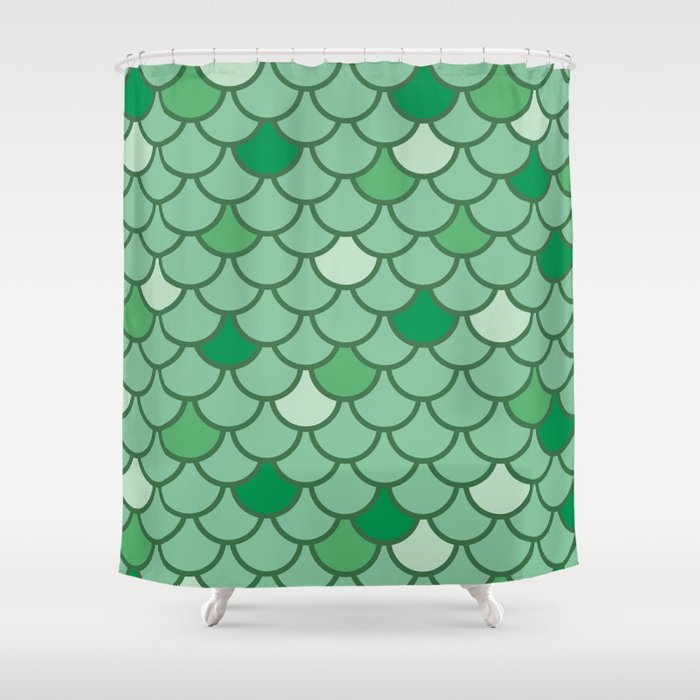 Mermaid Scales - Green Shower Curtain