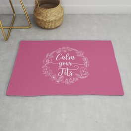 CALM YOUR TITS - Sweary Floral Wreath Rug