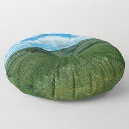 green and blue rapsody Floor Pillow