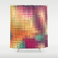 tetris Shower Curtains featuring Colored Tetris by jbjart