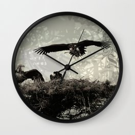 Vultures Building The Nest Wall Clock