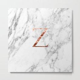 Monogram rose gold marble Z Metal Print