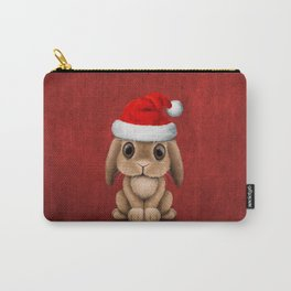 Cute Floppy Eared Baby Bunny Wearing a Santa Hat Carry-All Pouch