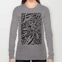 Hawaiian - Samoan - Polynesian Black And White Tribal Turtles Long Sleeve T-shirt