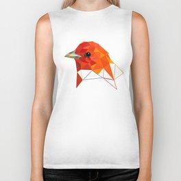 Orange Bird Geometric art Biker Tank