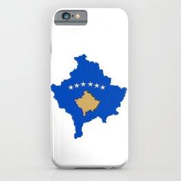 Kosovo map with Flag of Kosovo iPhone Case