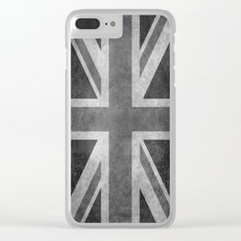 UK flag, High Quality Greyscale Retro Clear iPhone Case