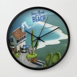 """Slice of Bread goes to the Beach """"House"""" Wall Clock"""