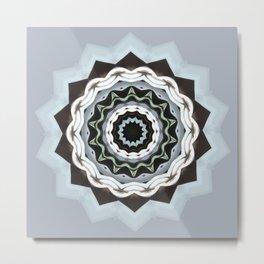 Black and Blue Mandala Metal Print