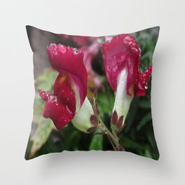 Dewy Snapdragons Throw Pillow