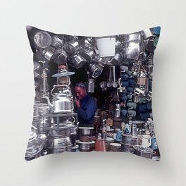 Moroccan Market Place: Cookware Booth Throw Pillow