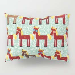 Brown horse on a blue floral background Pillow Sham