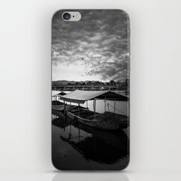 Boat on Water (Black and White) iPhone Skin
