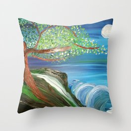 Tree by the Sea Throw Pillow
