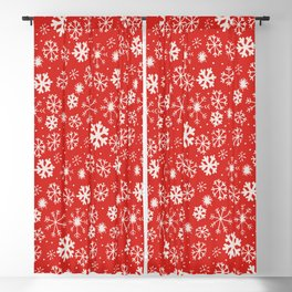 Snowflake Snowstorm With Poppy Red Background Blackout Curtain