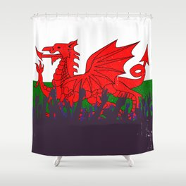 Welsh Flag with Audience Shower Curtain