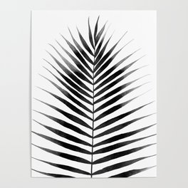 Palm Leaf Watercolor | Black and White Poster