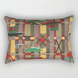 Pierced, Torn & Stitched Tartan Plaid by Nettwork2Design - Nettie Heron-Middleton Rectangular Pillow