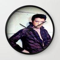elvis presley Wall Clocks featuring Elvis Presley by Neon Monsters