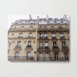 Paris apartment buildings street Metal Print