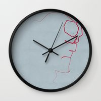 quibe Wall Clocks featuring One line Boy from Hell by quibe