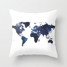 Space Milkyway World Map Throw Pillow