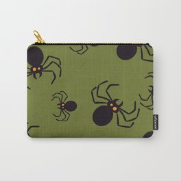 Halloween Green Spider Pattern Carry-All Pouch