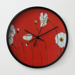 Asian White Poppies Wall Clock