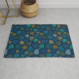 Moody Hawaii Quilted: Deep blues, with quilted water lines Rug