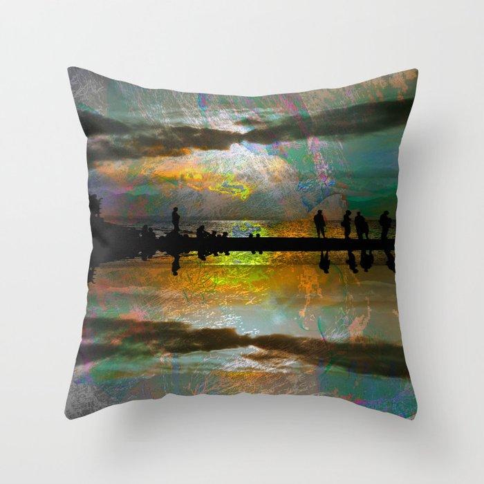 Abstract-art sunset Throw Pillow