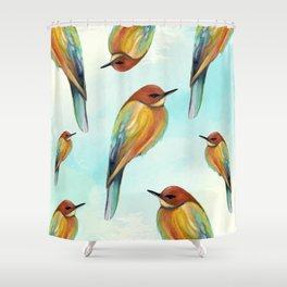 Watercolor Bird Pattern - Multicolor Feathers - Abstract Blue Sky Shower Curtain