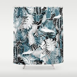 Tropical leaves and parrots marker illustration Shower Curtain