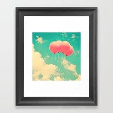 Balloons in the sky (pink ballons in retro blue sky) Framed Art Print