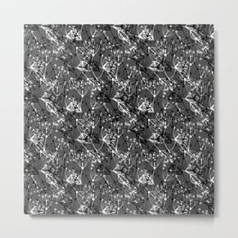 Summer grass , gray ,  black , white 2 Metal Print