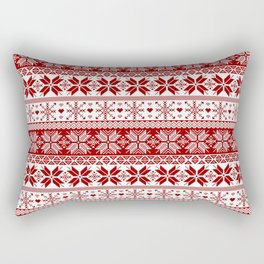 Red Winter Fair Isle Pattern Rectangular Pillow