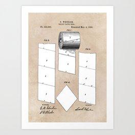 patent art Wheeler Toilet paper roll 1890 Art Print