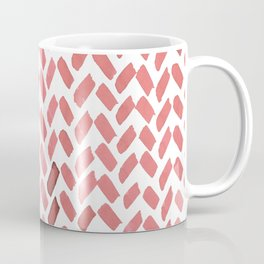 Cute watercolor knitting pattern - living coral Coffee Mug