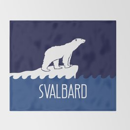Svalbard Dark Season Travel Poster - Norway Throw Blanket
